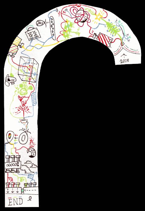 zany doodles on paper candy cane shape
