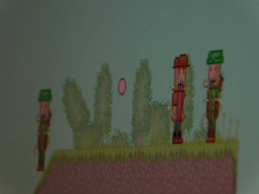screenshot of pixel scarecrows. by screenshot i mean i pointed a camera at the screen. game pictured no longer in development.